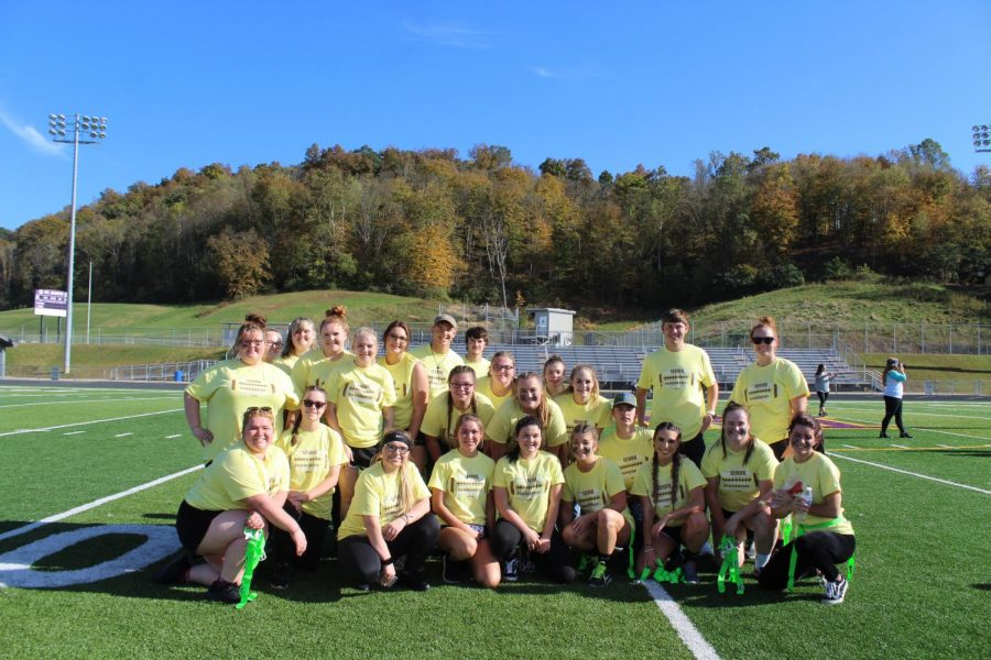 The senior girls and coaches after powderpuff.