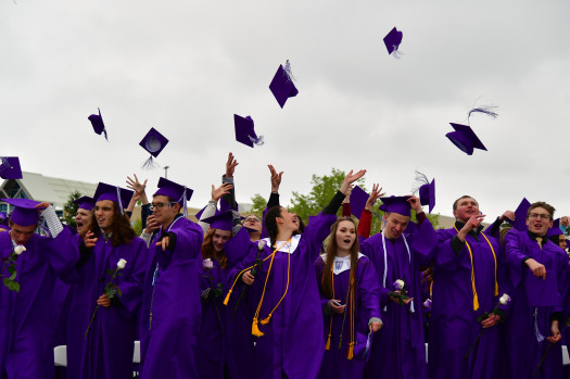 CASTLE ROCK, CO - May 21: 409 Douglas County High School students are celebrating their graduation at the snow covered Douglas County High School Stadium. May 21, 2019. (Photo by Hyoung Chang/The Denver Post)